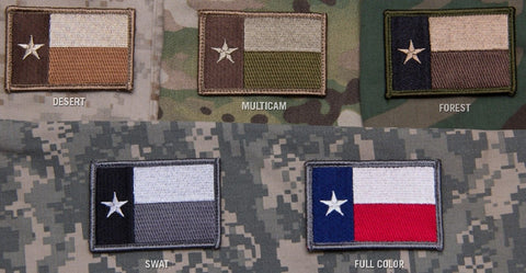 "Texas Flag Military Tactical Morale Patch With Velcro Hook Back - 3"" x 2"""