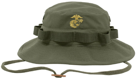Olive Drab Boonie Bucket Hat w/ Embroidered Gold Marines Globe & Anchor w Strap