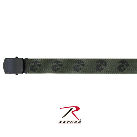 Rothco U.S.M.C. Globe & Anchor Web Belt - Olive Drab 54-Inch Military Style Belt