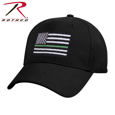 Rothco Thin Green Line Flag Cap Black - Thin Green Line Adjustable Baseball Hat