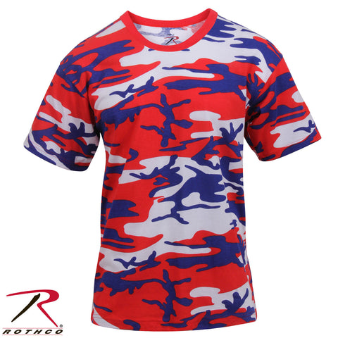 Men's American Camo Short Sleeve T-Shirt - Rothco Red White Blue Color Camo Tee
