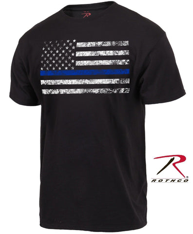 Mens Thin Blue Line Police Support Tee Shirt - Rothco Silver & Black TBL T-Shirt