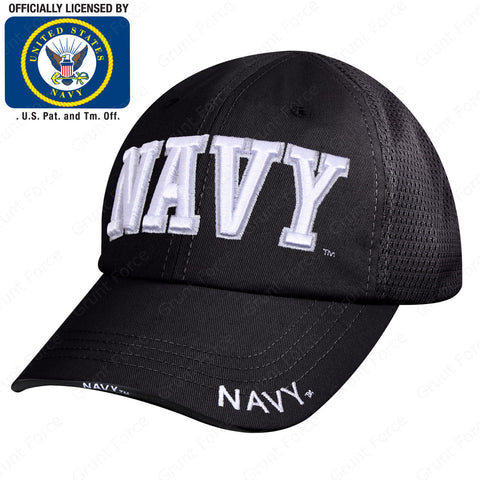 "Black ""NAVY"" Mesh Back Tactical Cap - 6 Panel Low-Mid Profile Strapback Hat"