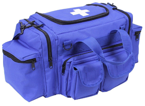 "Blue EMT Field Bag w/ Cross - Rothco 22"" 6-Pocket Medic Emergency Shoulder Bag"