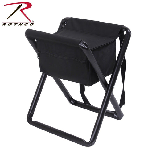 Rothco Black Deluxe Foldable Stool With Pouch - Camping, Hiking, Hunting Chair