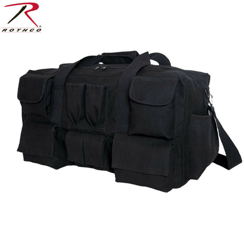Rothco Canvas Pocketed Military Gear Bag - Black Extra Large Tactical Gear Bag