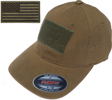 Flexfit Vintage Cotton Tactical Cap Hat w/ Patch Area & American Flag Patch