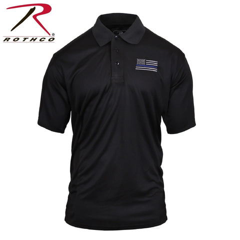 Rothco Thin Blue Line Moisture Wicking Short Sleeve Polo - Men's TBL Work Shirt