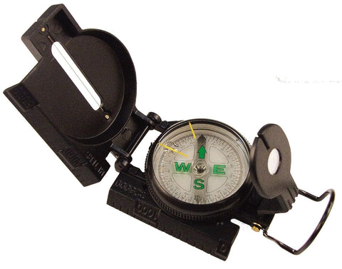 Black Military Compass - Liquid Filled w/ Ruler & Magnifying Glass by Rothco 407