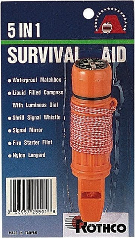 Survivor Deluxe 5 In 1 Survival Aid Tool - A Must Have For All Hiking & Camping!
