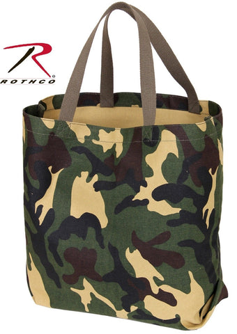"Woodland Camouflage Tote Bag - Rothco 18"" Cotton Canvas Camo Tote Bags 2422"