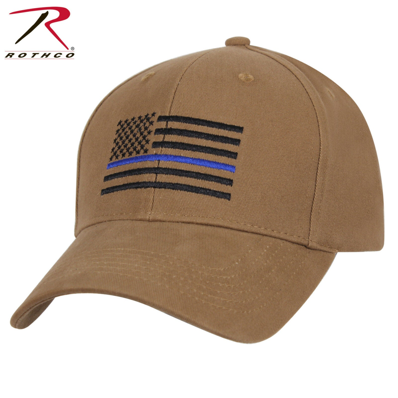 ... Rothco Coyote Brown Mid-Low Profile Baseball Cap With Thin Blue Line  U.S. Flag ... 8d1567245a28
