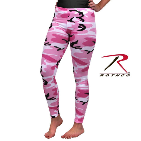 Pink Camo Women's Leggings - Womens Cotton Spandex Camouflage Yoga Pants