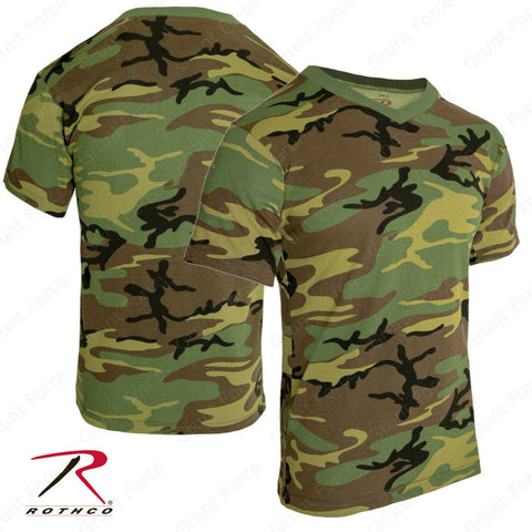 Rothco Men's Camo V-Neck T-Shirt - Woodland Camouflage V-Neck Tee Shirt