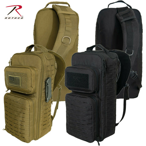Rothco Tactical Single Sling Backpack With Laser Cut MOLLE Black or Coyote Brown