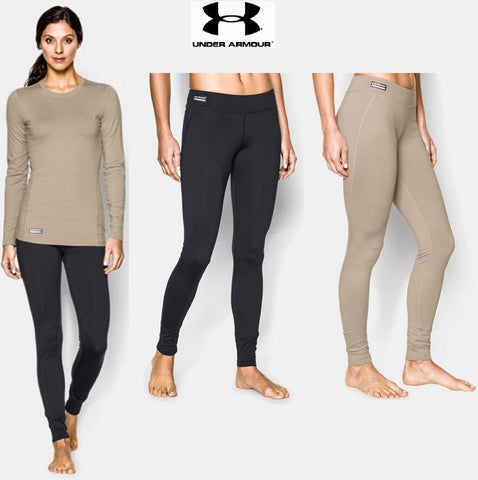 Womens Under Armour Infrared ColdGear Leggings - Black Tan or Navy Fitted Pants