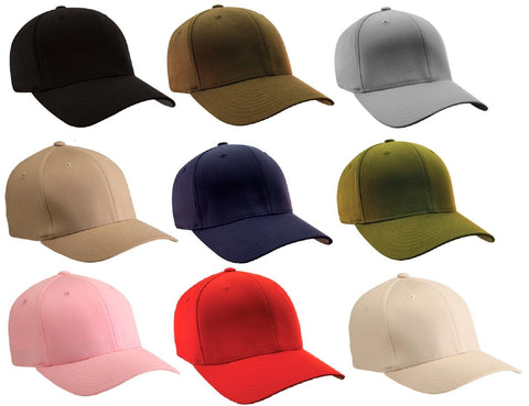 Flexfit Plain Fitted Mid-Profile Baseball Cap Hat Wooly Flex Fit S/M or L/XL