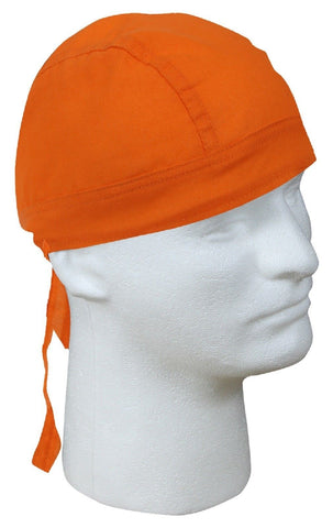 Cotton Orange Biker Headwrap - Do-Rag Great For Bikers & Work Sites