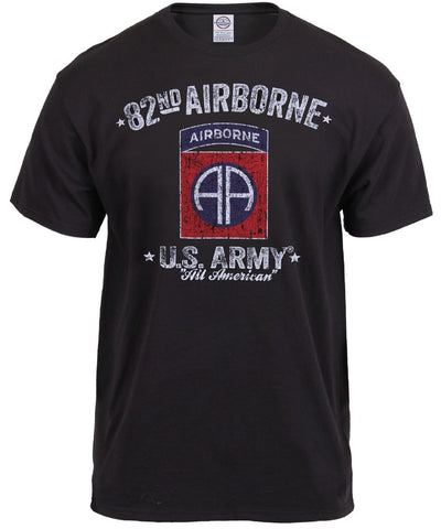 Mens Black Ink 82nd Airborne Division Tee Shirt - 100% Pre Shrunk Cotton T-Shirt