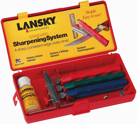 Lansky 3 Hone Knife Sharpening System Kit - Gives Knives A Perfect Edge! US Made