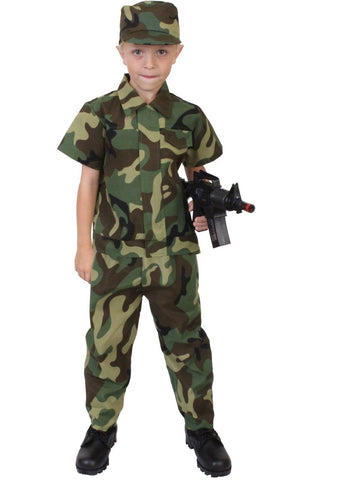 Kids Soldier Costume - Child Camouflage Uniform - Halloween Dress Up, Play Time