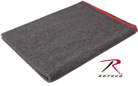 "Gray Wool Rescue Survival Blanket - Rothco 90"" Fire Retardant Emergency Blankets"