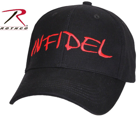 Mens Deluxe Low Profile INFIDEL Hat - Rothco Black & Red Adjustable Baseball Cap