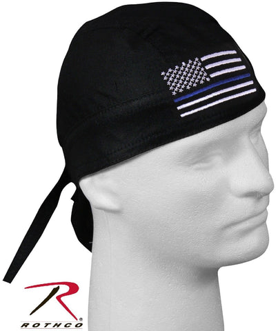 Rothco Thin Blue Line Police Support Headwrap - Mens Black TBL Cotton Head Wrap