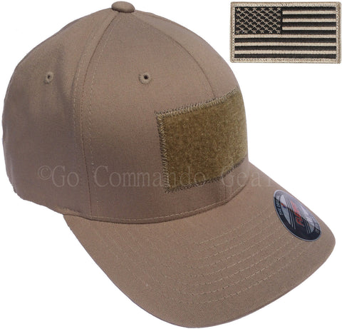 Men's Fitted 98% Cotton Flexfit Mid Profile Tactical Cap w Velcro Area and Patch
