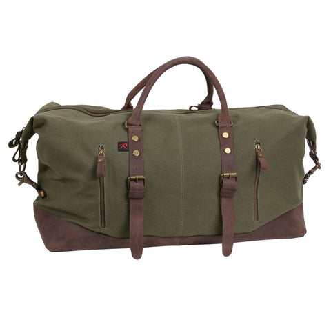 Rothco Extended Weekender Bag - O.D. Canvas Travel Bag w/ Brown Leather Accents