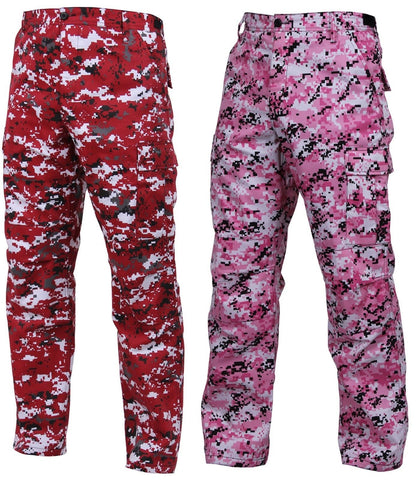 Red or Pink Digital Camouflage BDU Pants - Reinforced Military Style Cargo Pants