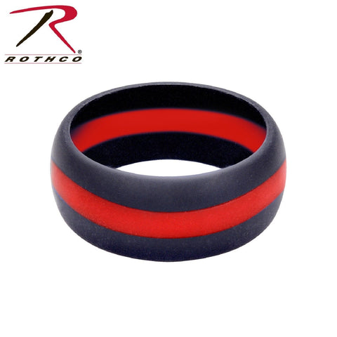 Rothco Thin Red Line Silicone Ring - Men's Silicone TRL Wedding Band FD Support