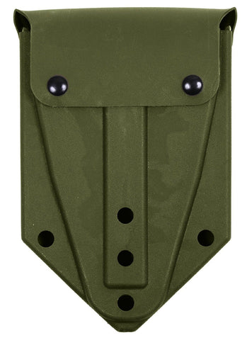 Olive Drab ABS Plastic Tri-Fold Shovel Cover - Snap Closure & ALICE Keeper Clips