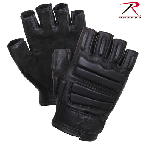 Rothco Black Tactical Fingerless Padded Gloves - Leather & Suede Gloves 2817