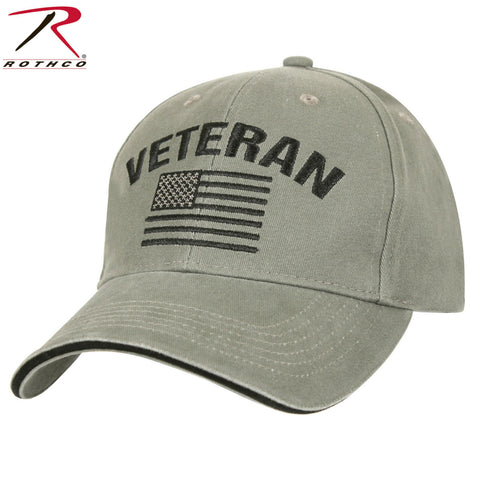 Rothco Vintage Olive Drab Veteran Mid-Low Profile Cap With Embroidered U.S. Flag