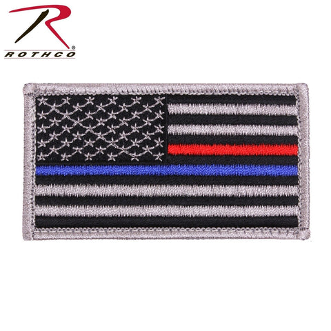 Rothco Thin Blue Line & Thin Red Line US Flag Patch With Hook Back 1 7/8 X 3 3/8
