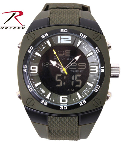 Extra Large Military Style Watch - Mens Easy-To-Read Analog & Digital Watches