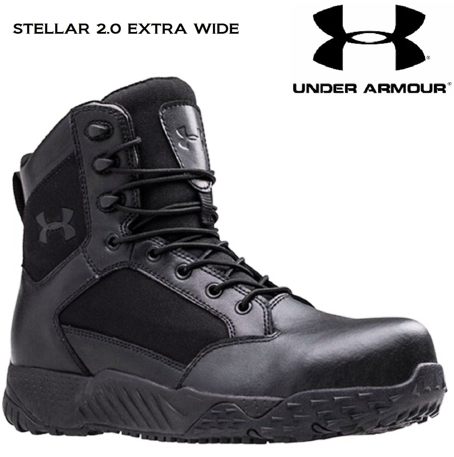 578ba71edba Under Armour Mens Black Stellar Extra Wide 2E Tactical Field Duty Work Boots