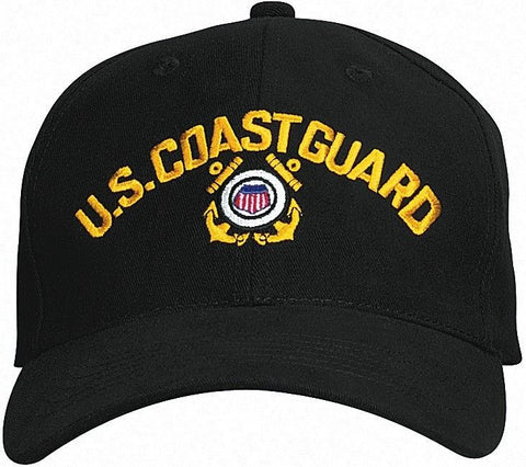 U.S. Coast Guard - Black - Deluxe Low Profile Baseball Cap With Insignia
