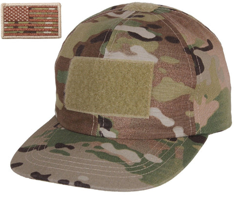 Boys MultiCam Camouflage Tactical Hat & USA Flag Patch Rothco Kids Operators Cap
