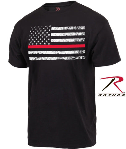 Black Thin Red Line Firefighters Tee Shirt - Mens Short Sleeve Firemans T-Shirt