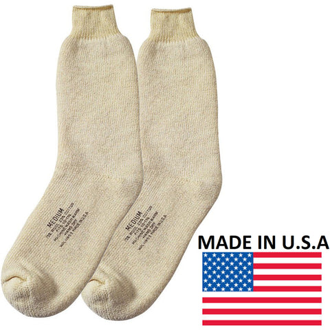 United States Navy Wool Winter Socks - White Ski USN Boot Socks Made In USA