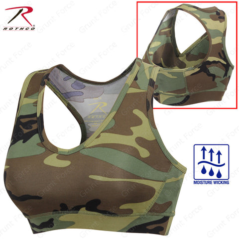 Rothco Camo Sports Bra - Women's Performance Camo Bra With Removable Cups