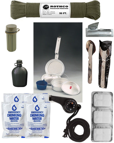 Basic Camping Kit & Emergency Preparedness Gear - Camping Survival Disaster
