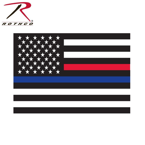 Rothco Thin Blue Line & Thin Red Line US Flag Decal - Window Decal