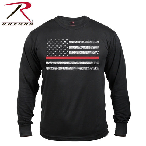 Rothco Men's Thin Red Line Long Sleeve T-Shirt - Fire Dept. & First Responders