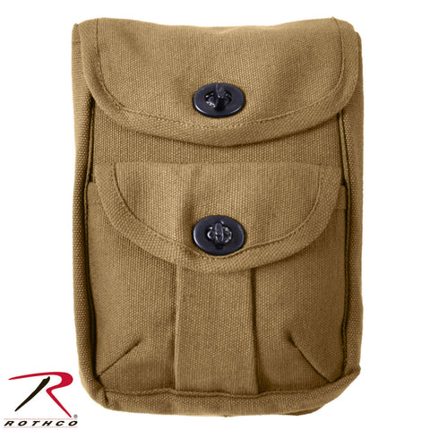 Rothco 2-Pocket Military Ammo Pouch - Coyote Brown Heavyweight Canvas Ammo Bag