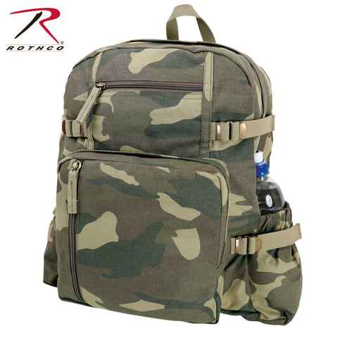"Rothco Large Vintage Canvas Backpack - Jumbo Woodland Camo Bookbag (18""x13½""x7"")"