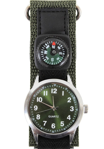 Military Field Watch w/ Compass Precise Reliable Olive Drab Wristwatch Watches