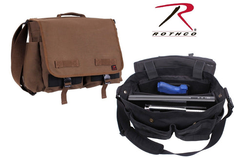 Black or Brown Concealed Carry Messenger Bag - Rothco Undercover CCW Canvas Bags